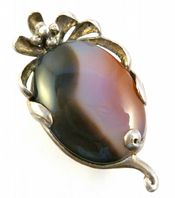 Vintage Sterling Silver Large Art Nouveau Style Agate Brooch.